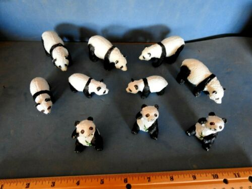 LOT OF 10 DARLING PANDA FAMILY  HARD RUBBER ACTION TOYS   FIGURINES