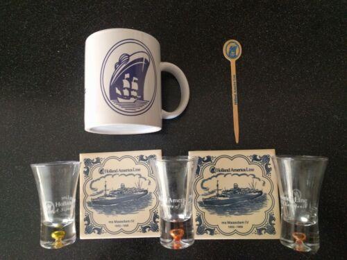 Vintage HOLLAND AMERICA LINE SWIZZLE STICK COFFEE MUG SHOT GLASS MS MAASDAM