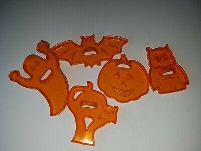 Vintage Halloween Cookie Cutters Plastic Cat Ghost Pumpkin Owl Bat Made In Hong