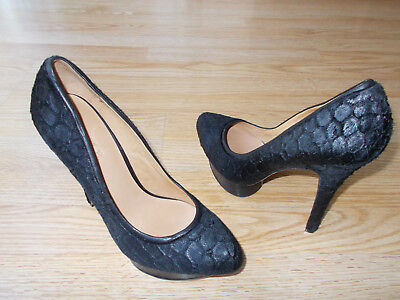 $325 L.A.M.B. Nikko Shoes Platform Heels Black Haircalf Real Fur sz 9 M NEW