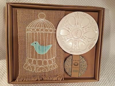 Mud Pie Nest Soap and Towel Set Bird Nest Birdcage & Blue Bird Burlap Towel