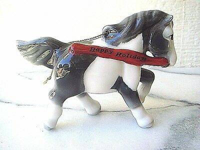 Instantaneous Horses 5700104 Happy Holidays Black Paint Porcelain X-Mas Tree Gewgaw