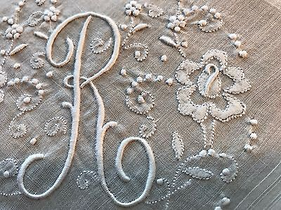 Vintage White Hankie Madeira Style Hand Embroidered Monogram R Wedding Bride