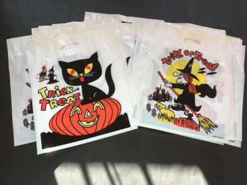 vintage Halloween Trick or Treat Bags Black Cat Witch NOS Large Lot of 25