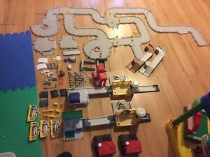 Hero city car track with buildings
