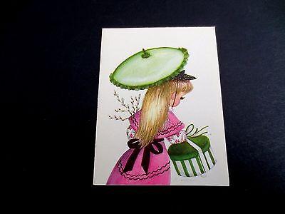 Unused Marjorie M Cooper Xmas Greeting Card Cute Girl with Hat Box & Umbrella