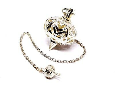 Grande de Metal Pendulum Decorativa Tono Plateado Adivinación Radiestesia Jaula