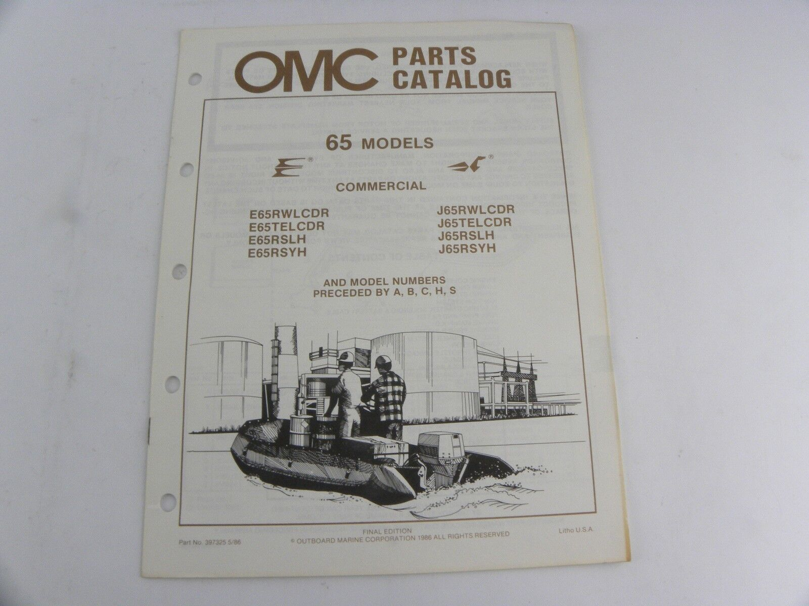 Evinrude Johnson 65 Models Outboard Motor Parts Catalog Manual 1986 OMC