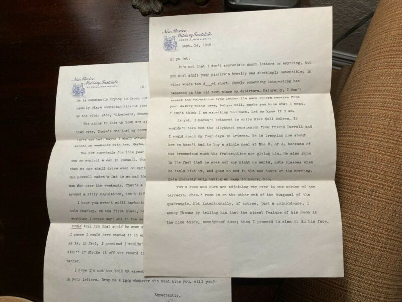 New Mexico Military Institute Roswell Letterhead 1948