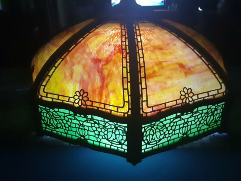 "Antique 19"" Slag Glass Lamp Shade Some Panels damaged"