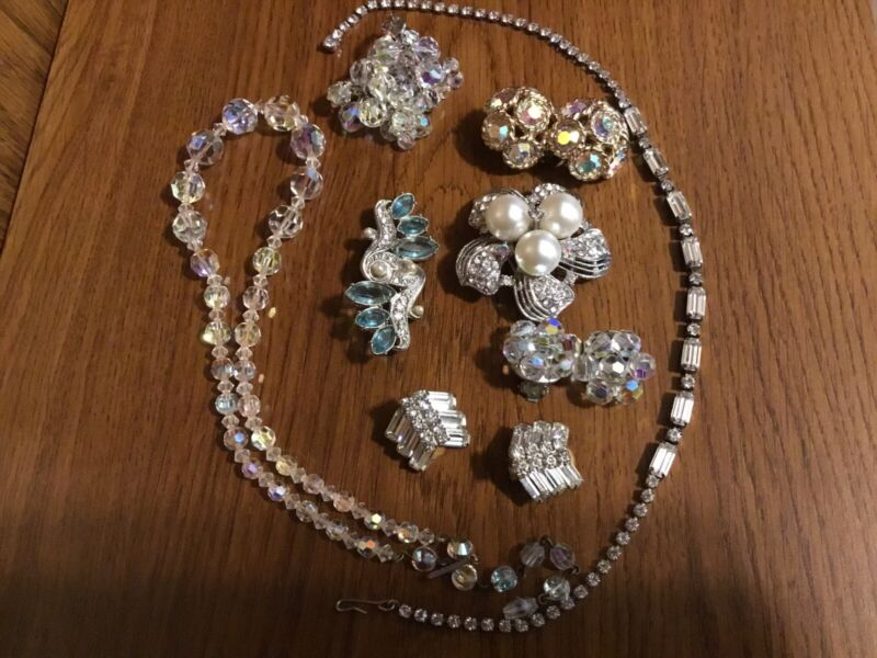 VINTAGE ART DECO LOT BROOCHES NECKLACES EARRINGS PEARLS RHINESTONES CRYSTALS!