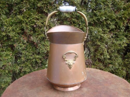 "Vintage 14"" Lions Head Copper Fireplace Ash Bucket with Delft Ceramic Handle"