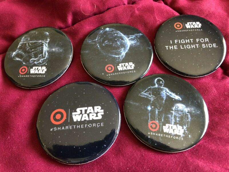 2015 D23 EXPO DISNEY TARGET STAR WARS BUTTONS SET OF 5 FREE SHIPPING!