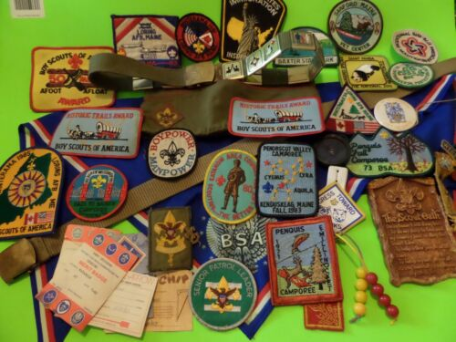 MOSTLY BOY SCOUT PATCHES LOT SOME MISC LIKE MILITARY & SCOUT HAT BELT LOOK