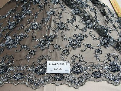Luxurious Black/Silver Flowers Embroider And Beaded On A Mesh Lace. Prom/Fabric. ()