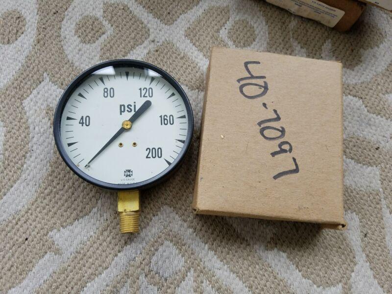 DAMAGED USG AMETEK 0-200 PSI Pressure Gauge CRACKED GLASS U.S. GAUGE