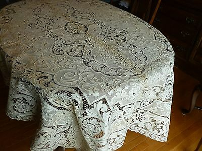 Superb Vintage MADEIRA Ivory Linen Tablecloth Embroidery Cutwork Urns 12 Napkins