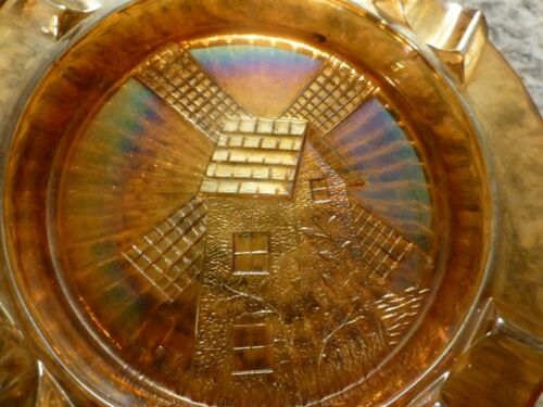 Vintage Marigold Carnival Glass Windmill Ashtray