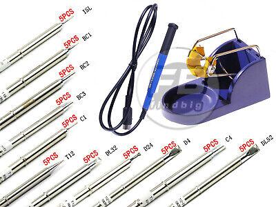 5pcs T12 Series Solder Iron Tips For Hakko Fx-9501 Fx-951 Handlebase
