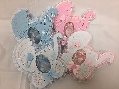 24 pieces of baby stroller favor bags pouch PINK/BLUE  - Baby Shower Bags