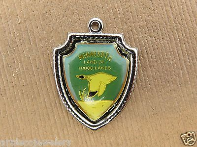 - Vintage sterling silver MINNESOTA STATE 10,000 LAKES TRAVEL SHIELD charm #S