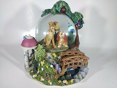 Disney Lady and the Tramp Musical Snow Globe Wet Cement Bella Notte Snowglobe
