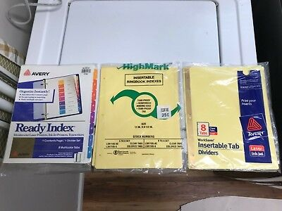 6 Total Packs Lot Avery 8 Tabs Dividers Ready Index  Designed Paper More