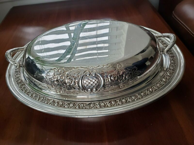 FB Rogers Silverplate Serving Tray Bowl with Handled Lid and Glass Insert Dish