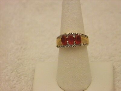 14  KT  YG  FIRE OPAL RING/  DIAMOND ACCENTS