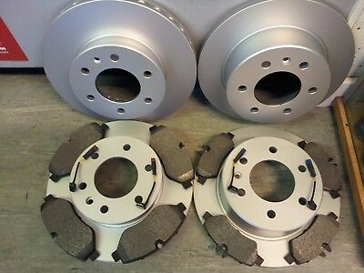 VW CRAFTER FRONT & REAR BRAKE DISCS + PADS + WEAR WIRES 2006-2017-COATED DESIGN