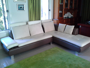 Leather 3 seater lounge with chase Smiths Lake Great Lakes Area Preview