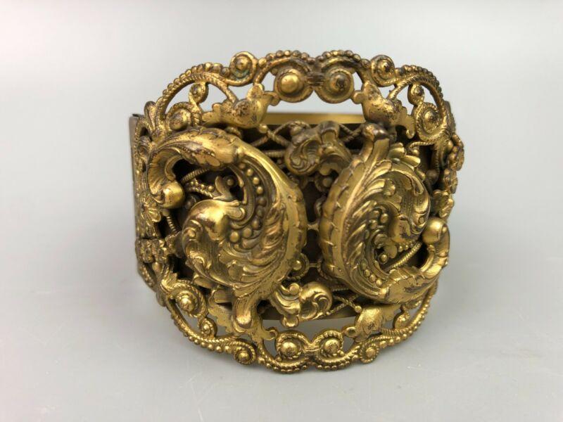 Antique Gold Tone Victorian Ornate Cuff Bracelet