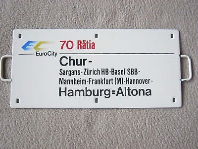 "Zuglaufschild,Metall, Miniatur, EC 70 Rätia ""Chur - Hamburg=Altona"""