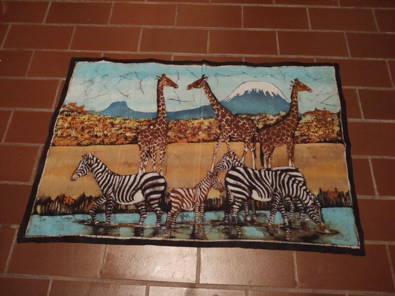 """Original batik 31"""" x  21"""" Zebra Motif"""