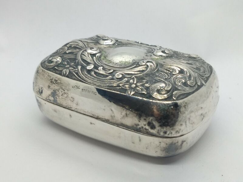 Antique Sterling Silver Floral Repousse Soap Dresser Box with Interior Liner