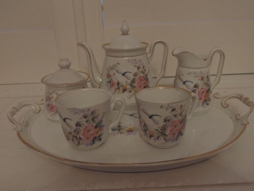 19th C Antique German Porcelain Tea Set Breakfast Bachelor Teapot Dragonfly
