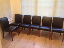 Freedom Leather Dining Chairs x 6 Kirribilli North Sydney Area Preview