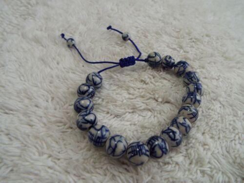 Asian Blue White Ceramic Bead Adjustable Bracelet (F39)