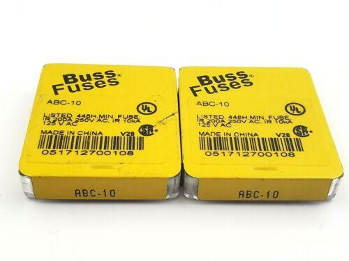 "Lot of 10 Bussmann ABC10 250V 10 Amp Ceramic 1/4"" x 1-1/4"" Fast Acting Fuses"