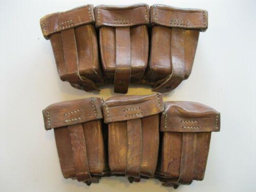 Original Turkish Ottoman WW1 Gewehr Leather Triple Cell Pouch Set