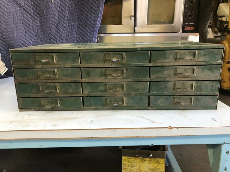 Vintage Steel Parts Cabinet 12 Drawers Nuts Bolts Drawer Industrial