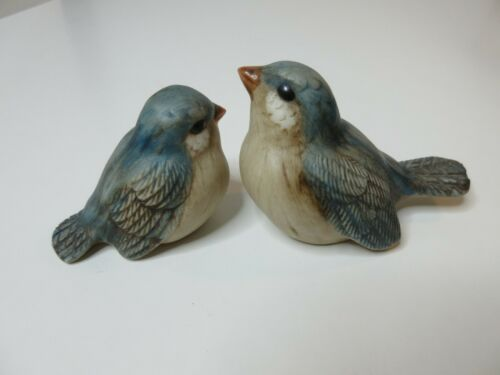 Porcelain Bluebird Pair Bird Figurine Set