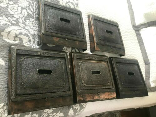 5 ANTIQUE ARTS CRAFT DECO VICTORIAN AUER CAST IRON WALL HEAT GRATE REGISTERS