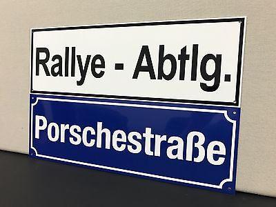 Racing porsche rally department garage sign baked 1970s Rallye Abtlg