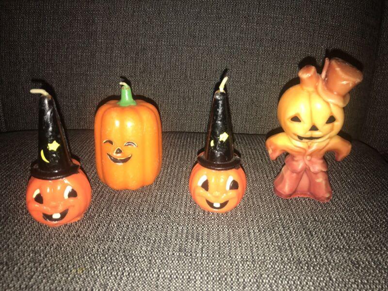 Vtg Halloween Gurley Candle Lot Pumpkin Man JOL Moon Unused Party