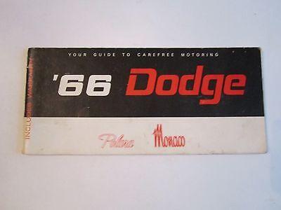 1966 DODGE POLARA/MONACO CAR OWNER'S MANUAL