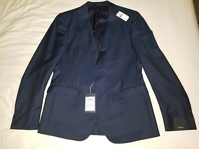 Z Zegna Wool Mohair Jacket Solid Blue US 40S EU 50C Slim Fit Drop 8 New with Tag