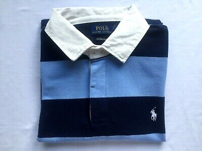 Custom Fit Stripe Polo - New Polo Ralph Lauren Custom Fit Mesh Polo Shirt Blue/Navy Stripes Men's Size XL