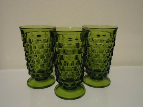 Drinking Glasses 10 Vintage Whitehall Avocado Green Footed