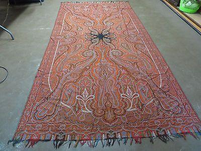 "62"" X 127"" Antique Wool Paisley Shawl European Kashmir Oversized Hand Loom Woven"